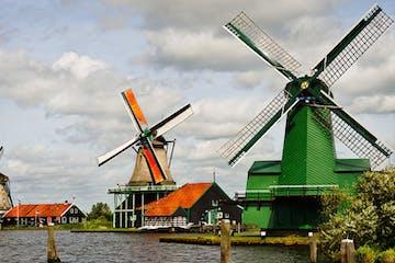 Windmills in Zaanse Sans in the Netherlands