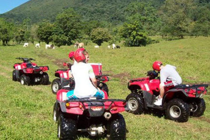 people riding ATVs in a lush green landscape