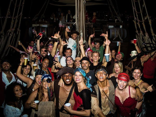 A group of drunk adults enjoying their private dance party aboard the boat
