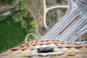a bird's eye view from a hot air balloon basket