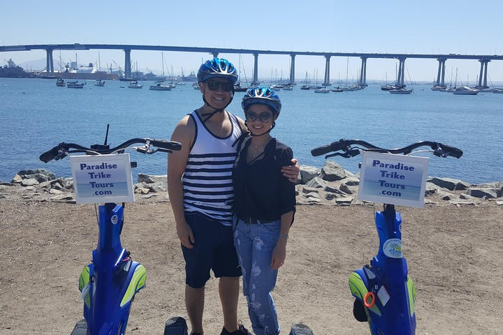 couple posing on trike tour in San Diego