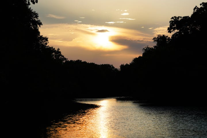 sunset on trinity river