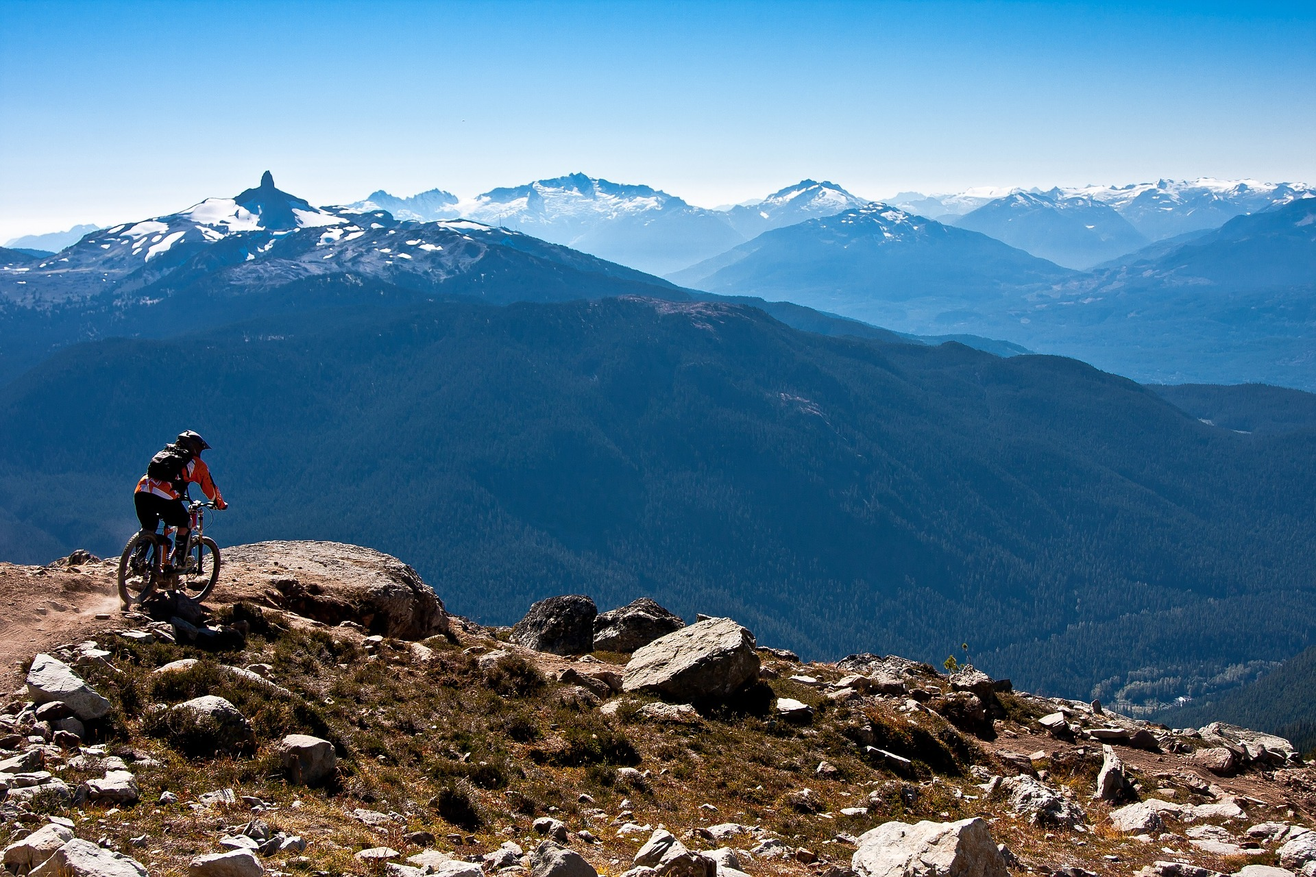 A mountain biker looking over Whistler