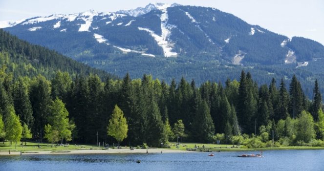 Looking over lost lake towards Whistler Blackcomb
