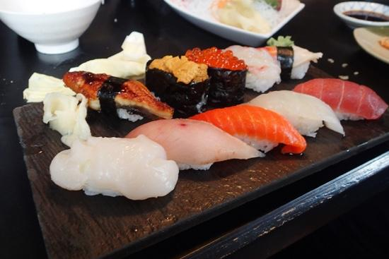 Sushi laid out on a plate