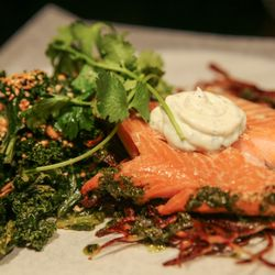 A salmon steak and salad on a plate