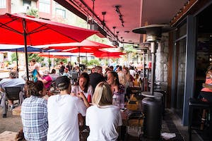 Packed patio at El furnie Whistler