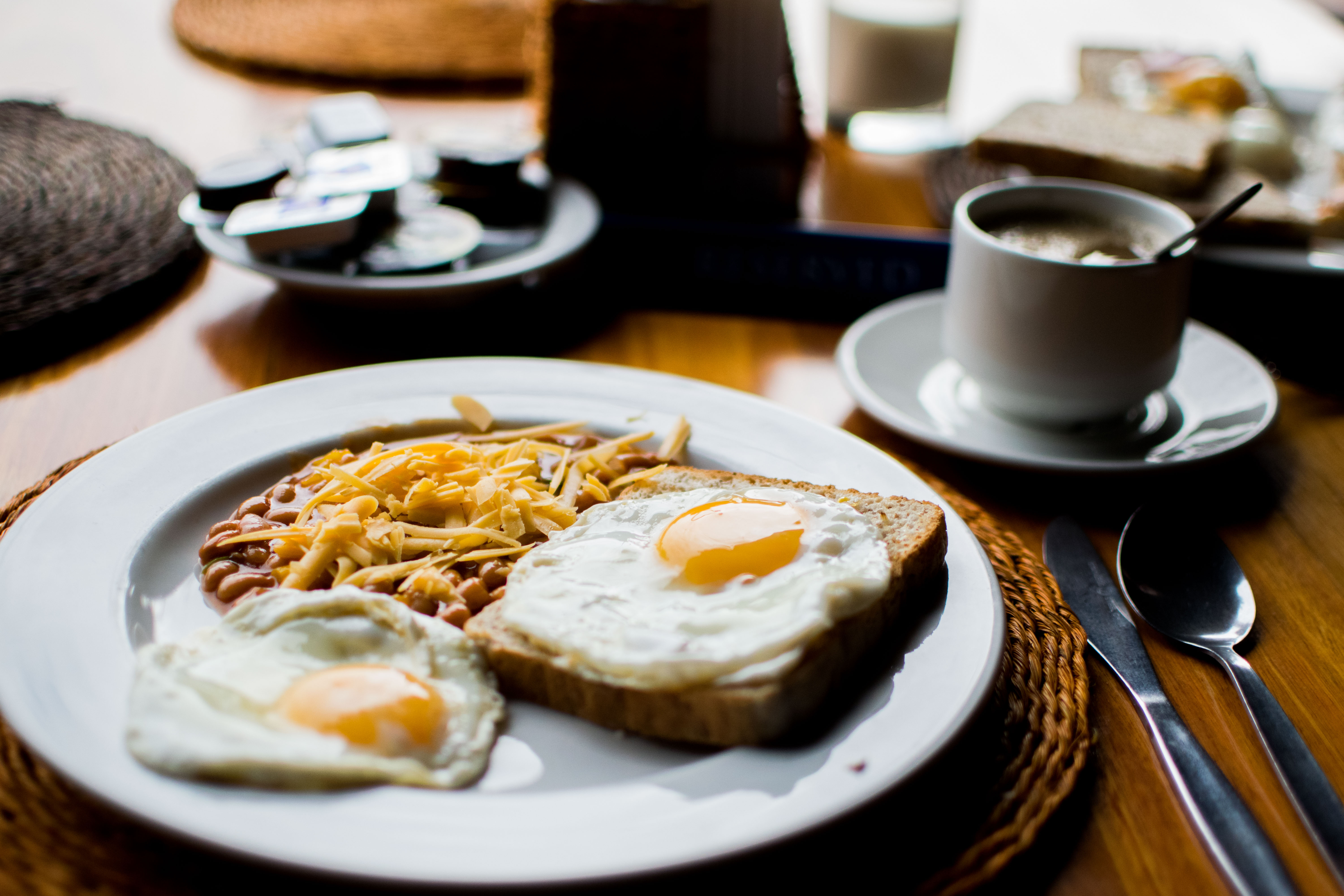 Eggs, toast, and beans as breakfast