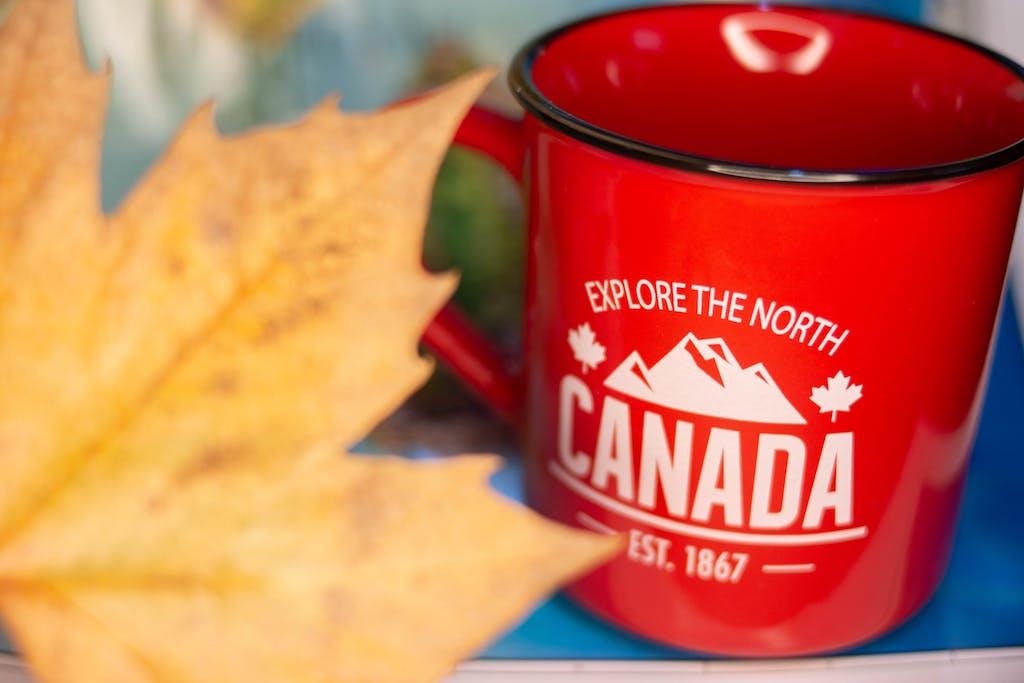 Canadian red mug, souvenir, maple leaf