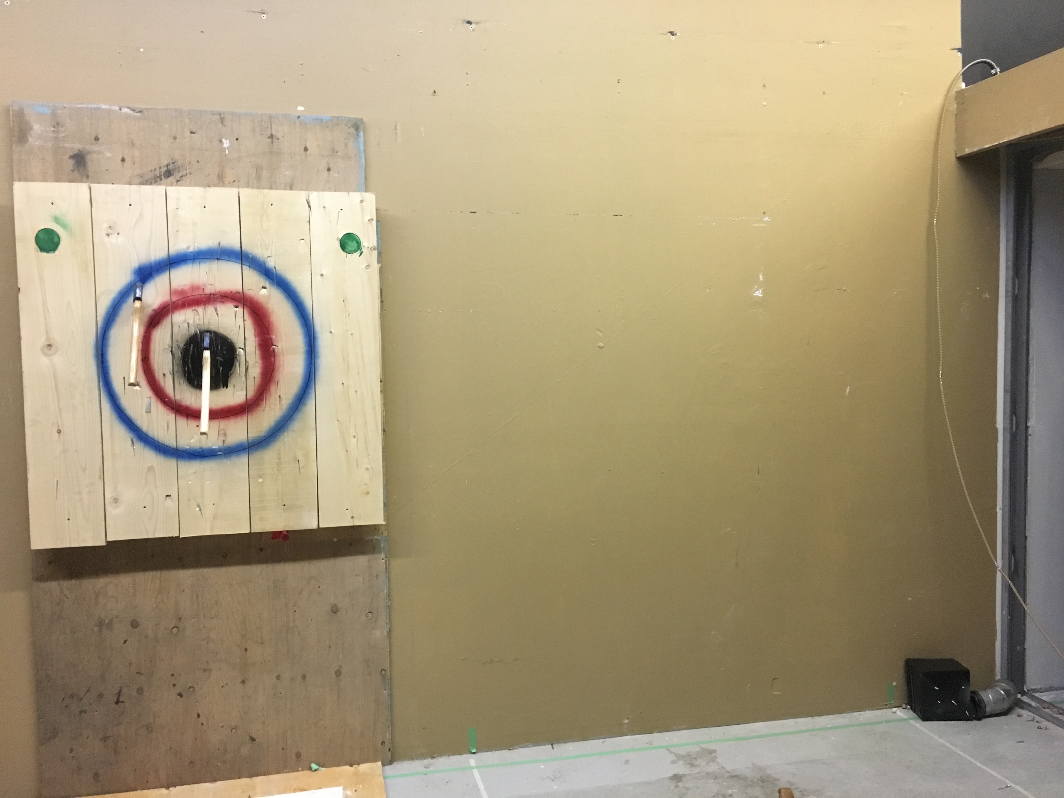 Before photos of Forged Axe Throwing