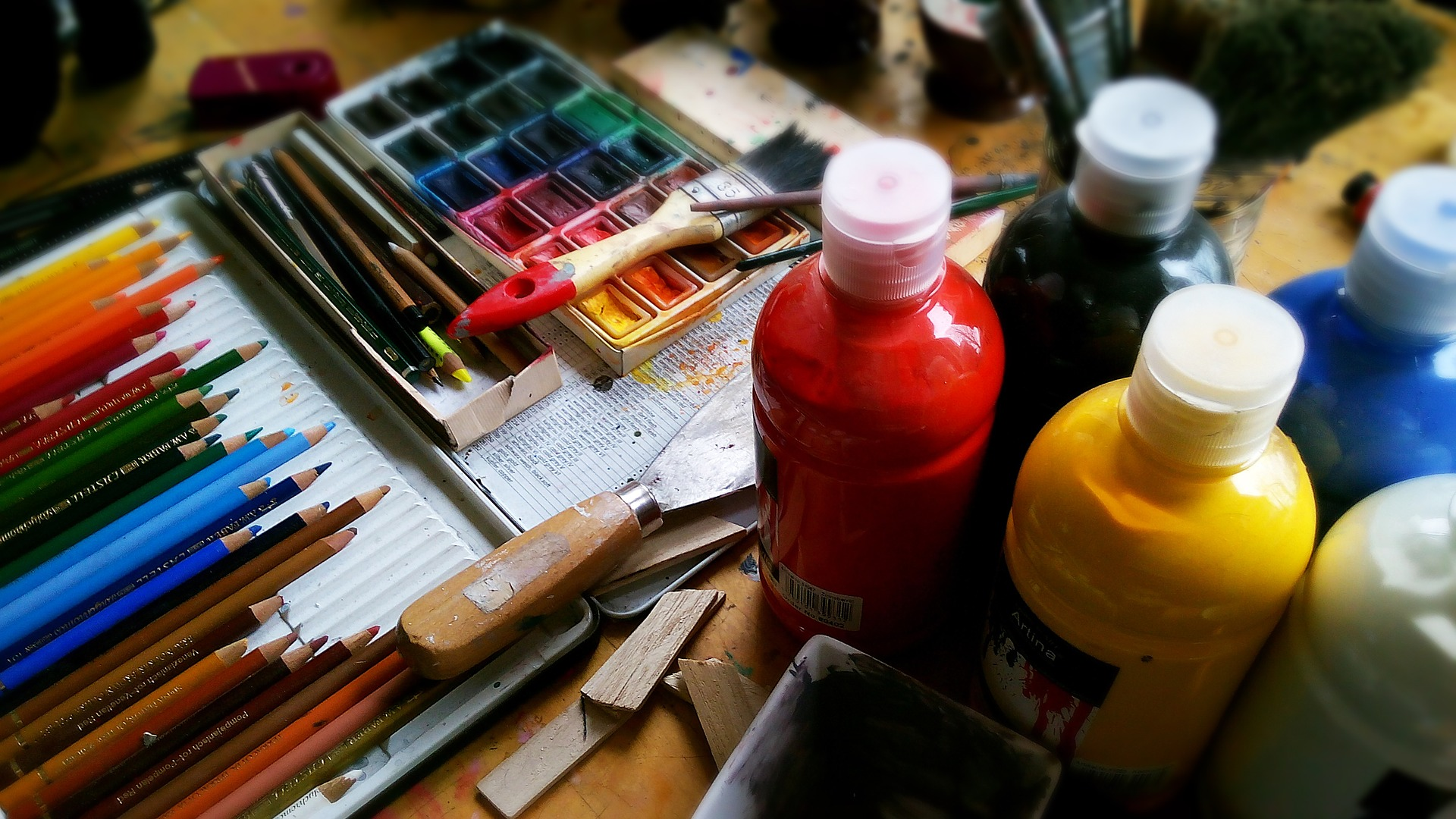 Paint brushes, paint and more.