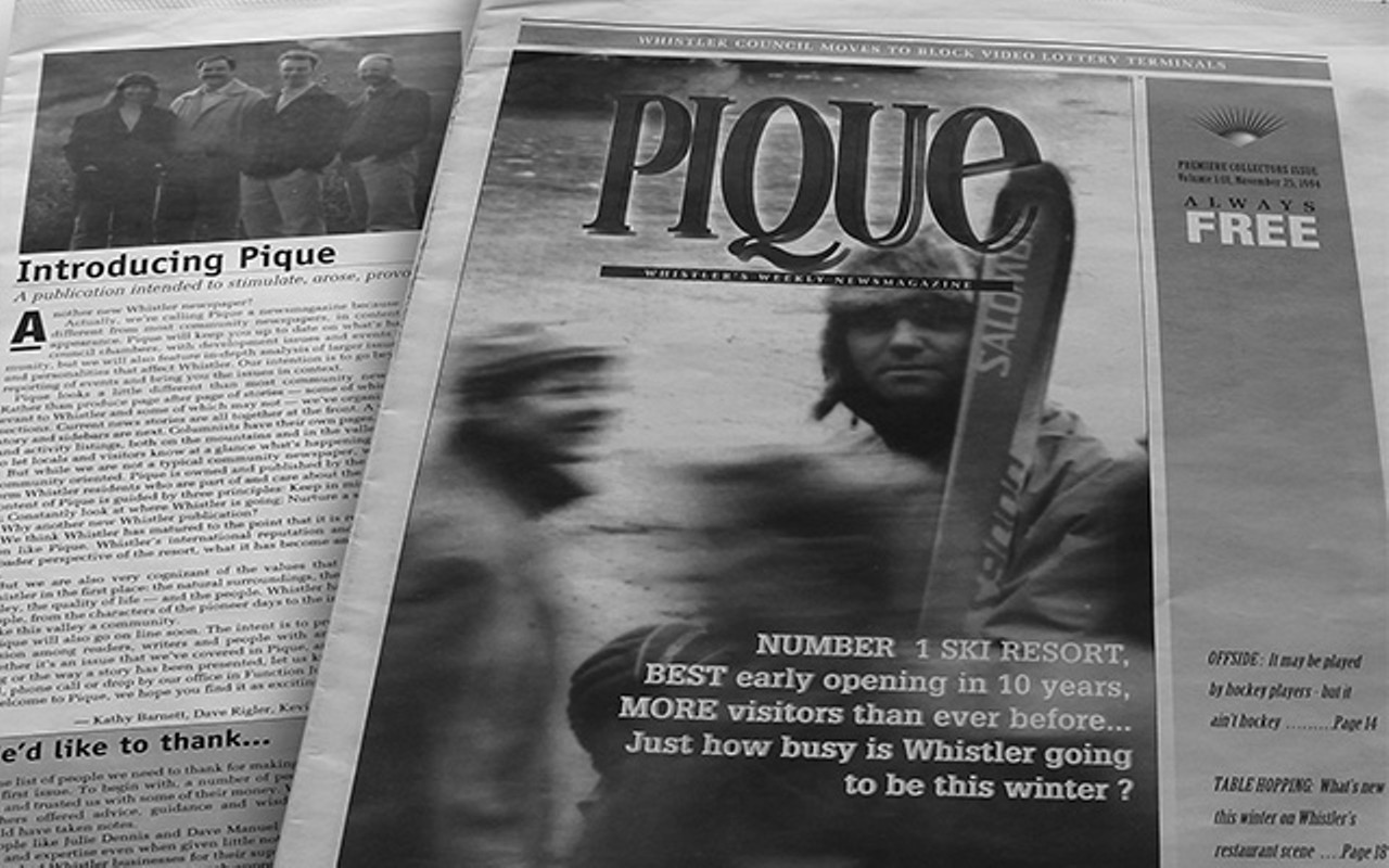 Image of the front page of Whistler Pique magazine