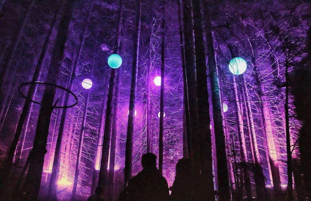 Night time image of vallea lumina, purple lighting, night walk