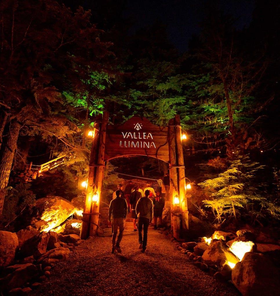 Entry to Vallea Lumina at Cougar Mountain. Night walk