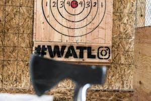 Axe in front of a WATL target