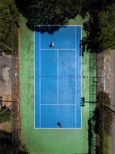 Overhead image of tennis court