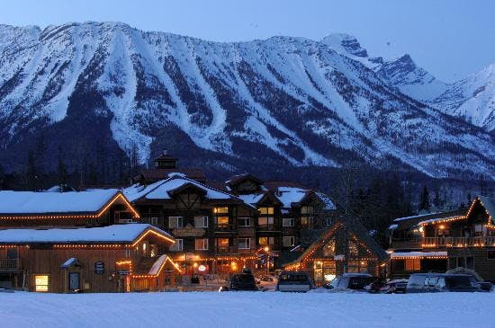 Fernie mountain resort, cabins, lights and ski runs in the back