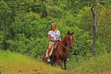 A woman riding a horse through the jungle