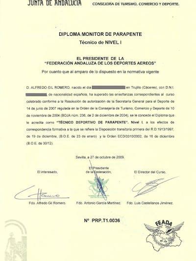 Diploma parapente