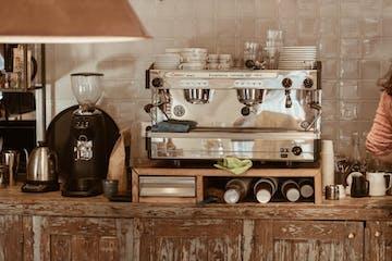 A coffee machine corner
