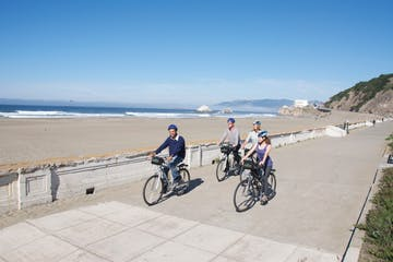 biking along the beach