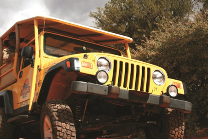 close up of yellow jeep