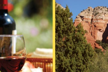 collage photo of a glass of wine and red rock formations in Sedona