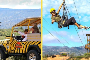 photo collage of a jeep tour and ziplining