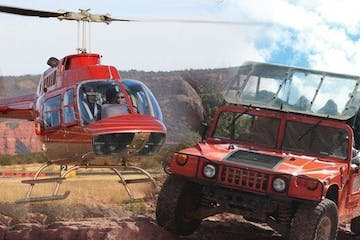 photo collage of helicopter and hummer vehicle