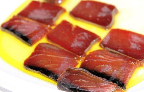 Amazing Tapas in Seville - Mojama de atun (filleted salt-cured tuna)