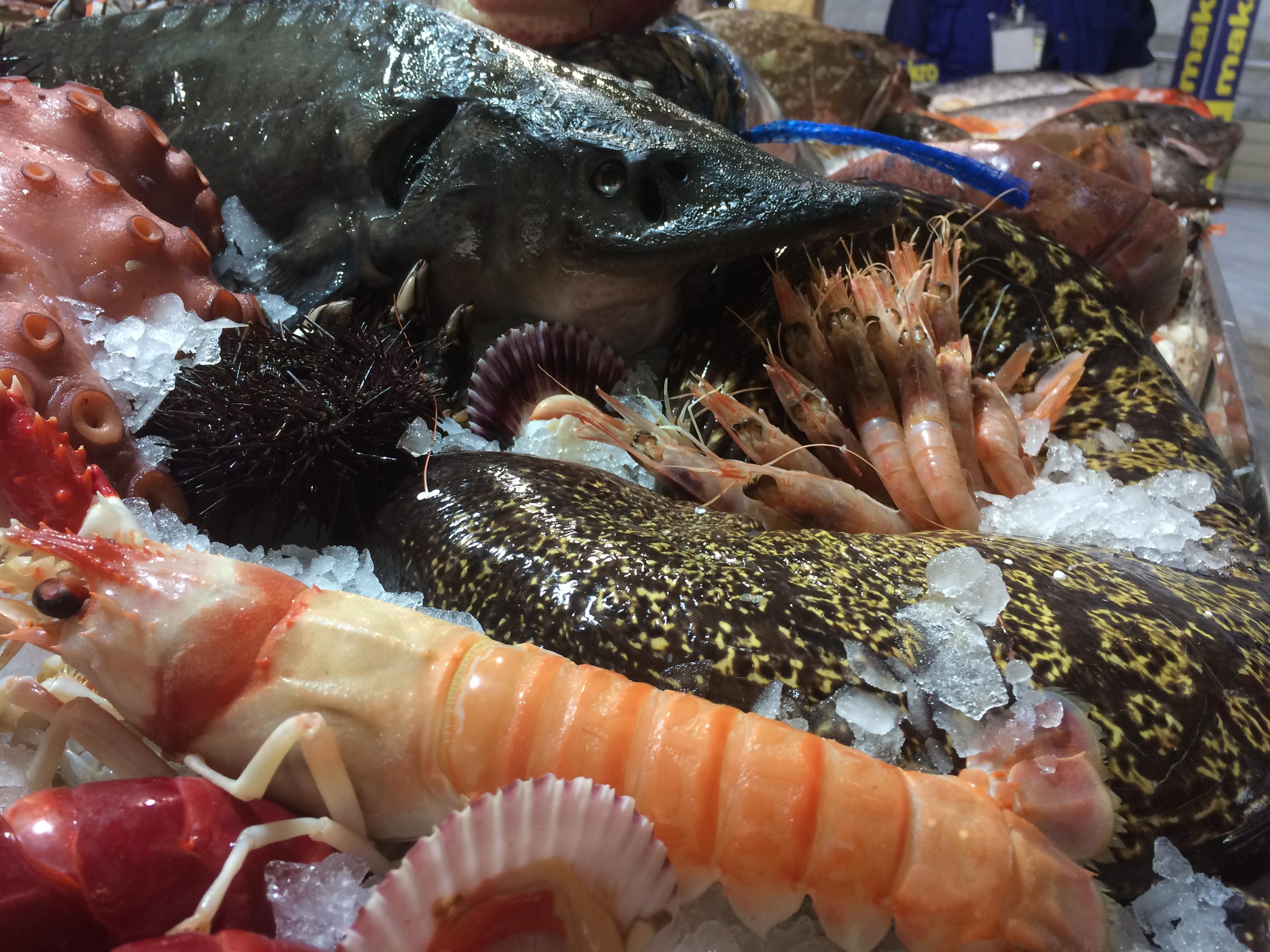 Fresh seafood is plentiful in food markets in Madrid