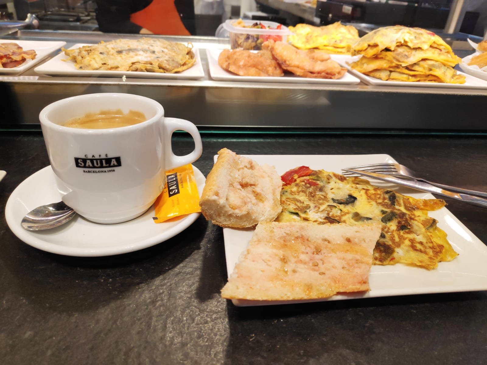 Coffee in Spain is a must to accompany a delicious breakfast!