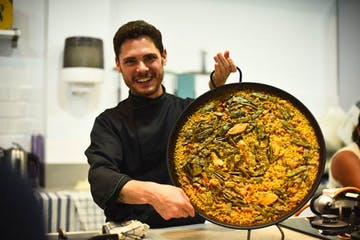 Expect to eat a tasty paella like this one in our Seville Cooking Class!