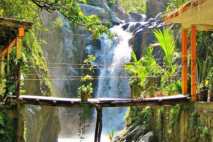 view of walking bridge and tropical waterfall