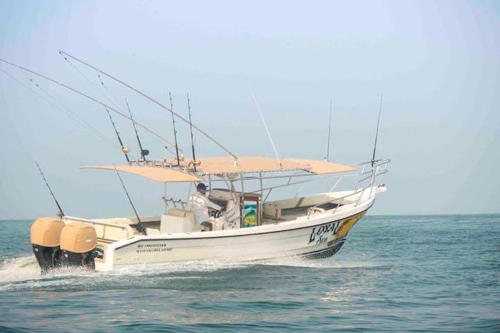 panga lux boat cruising on the water