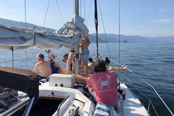 people sailing on a Hunter sailboat