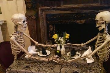 skeletons at dinner table