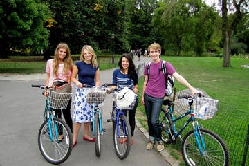 four people on bikes