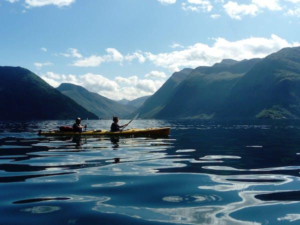 couple kayaking in Fjord
