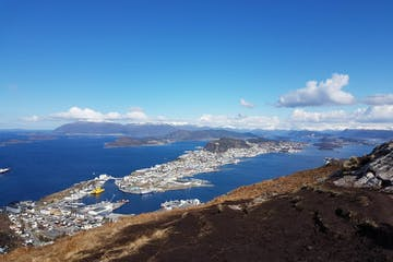 views from Alesund from the top of a mountain