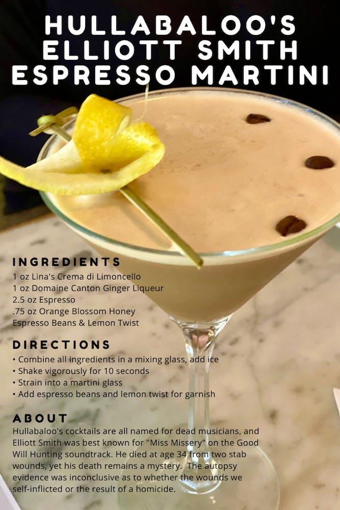 espresso martini with lemon twist