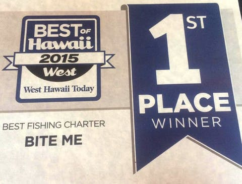 Bite Me's 1st place certificate for Best Fishing Charter in West Hawaii