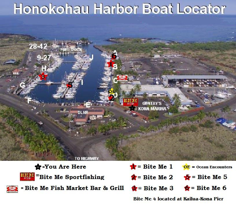 Honokohau harbor map and bite me boat locator