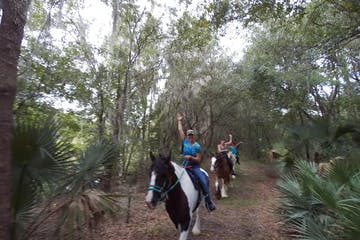 A tour group riding through Alafia state park