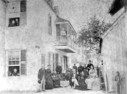 a vintage photo of the Ximenez Fatio House in St Augustine Florida