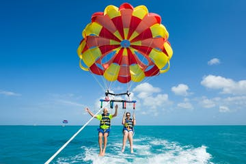 Two people parasailing in Purerto Rico
