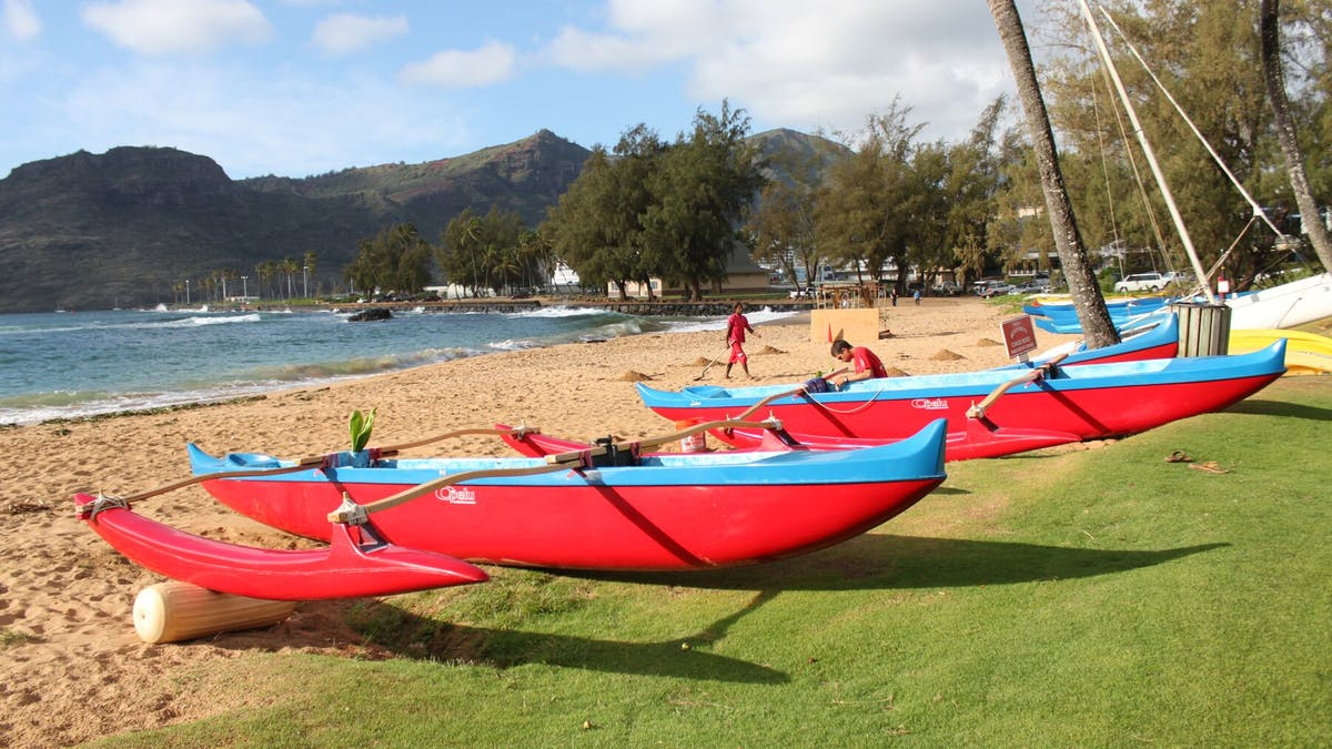 Outrigger canoes at Kalapaki Bay, Kauai