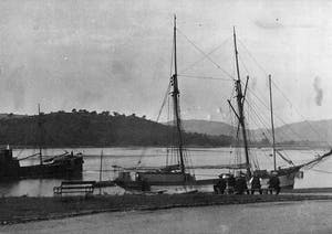 old photo of a large ship in a body of water