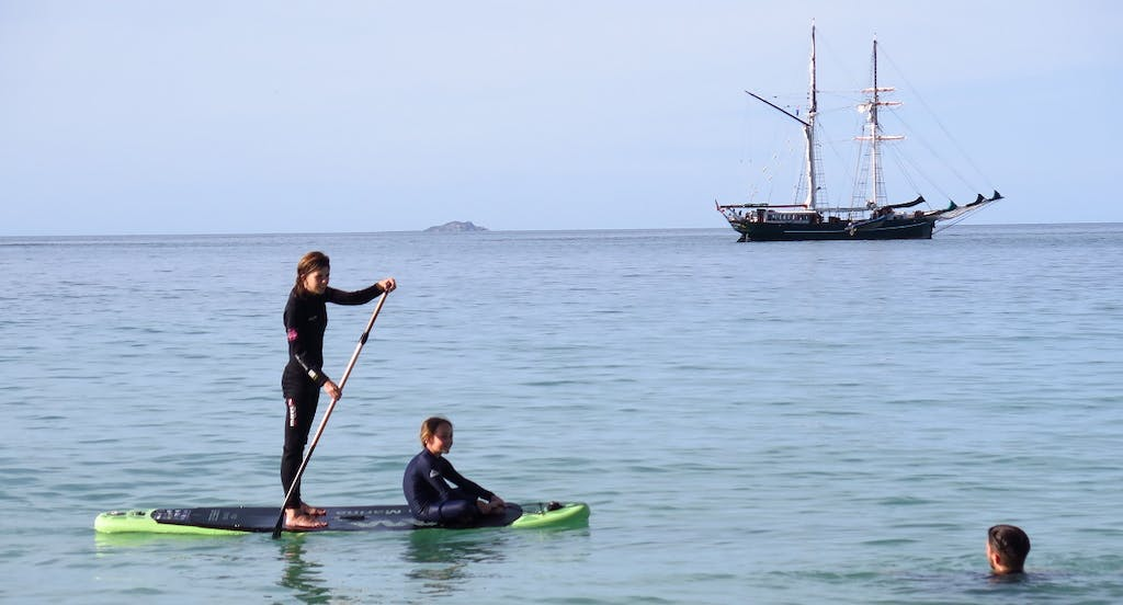Paddle boarding on Solway Lass