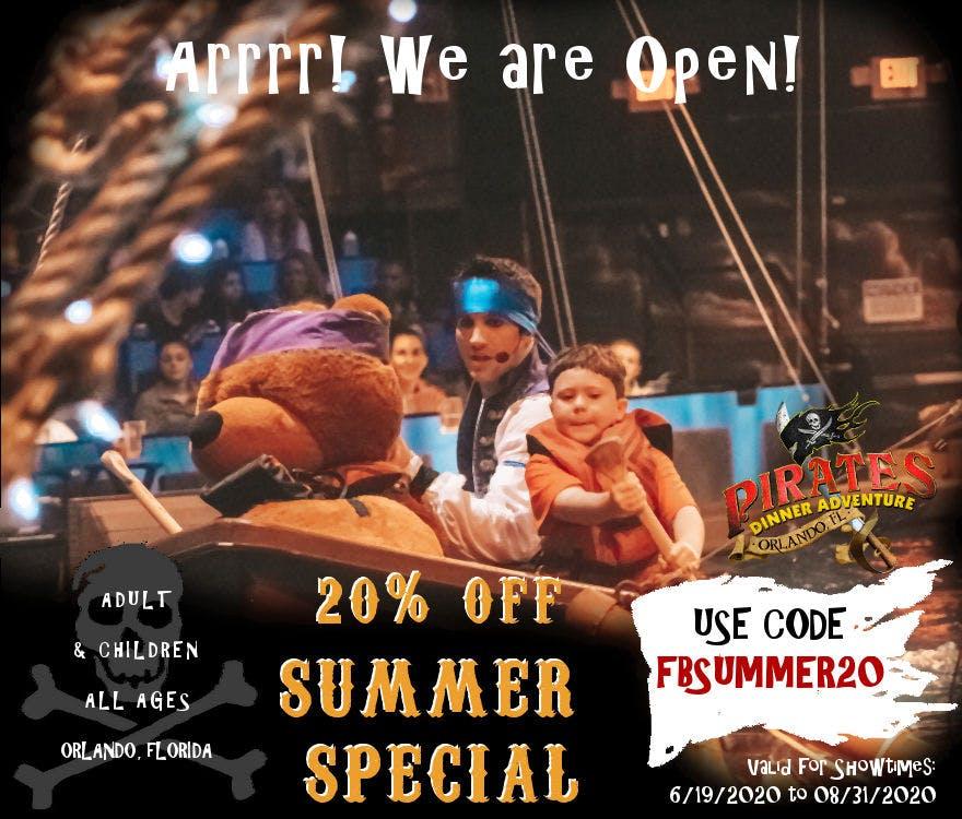 Facebook Summer 2020 Promo Pirates Dinner Adventure Orlando